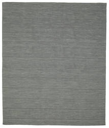 Kelim Loom - Dunkelgrau Teppich  250X300 Echter Moderner Handgewebter Dunkelgrün/Hellgrau Großer (Wolle, Indien)