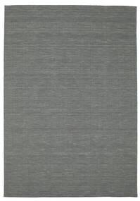 Kelim Loom - Dunkelgrau Teppich  200X300 Echter Moderner Handgewebter Dunkelgrün (Wolle, Indien)