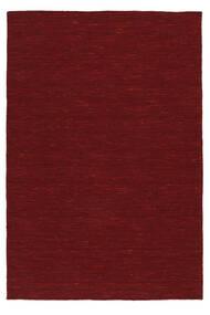 Kelim Loom - Dunkelrot Teppich  140X200 Echter Moderner Handgewebter Rot (Wolle, Indien)