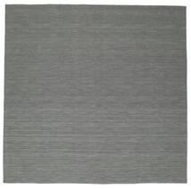 Kelim Loom - Dunkelgrau Teppich  300X300 Echter Moderner Handgewebter Quadratisch Dunkelgrün/Hellgrau Großer (Wolle, Indien)