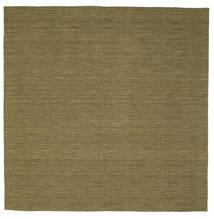 Kelim Loom - Olive Teppich  250X250 Echter Moderner Handgewebter Quadratisch Olivgrün Großer (Wolle, Indien)
