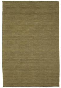 Kelim Loom - Olive Teppich  200X300 Echter Moderner Handgewebter Olivgrün (Wolle, Indien)