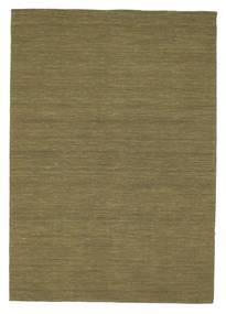 Kelim Loom - Olive Teppich  160X230 Echter Moderner Handgewebter Olivgrün (Wolle, Indien)