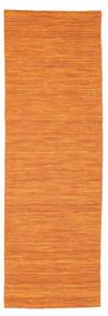 Kelim Loom - Orange Teppich  80X250 Echter Moderner Handgewebter Läufer Orange (Wolle, Indien)