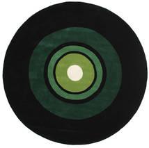 Schallplatte Handtufted Teppich  Ø 250 Moderner Rund Dunkelgrün Großer (Wolle, Indien)