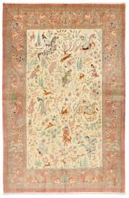 Ghom Seide Signatur: Hosseini Teppich  155X240 Echter Orientalischer Handgeknüpfter Rost/Rot/Dunkel Beige (Seide, Persien/Iran)