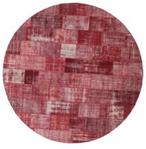 Patchwork Teppich  Ø 400 Echter Moderner Handgeknüpfter Rund Dunkelrot/Lila Großer (Wolle, Türkei)