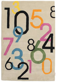 Lucky Numbers - Hell Teppich  120X180 Moderner Beige/Hellgrau (Wolle, Indien)