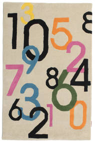 Lucky Numbers - Hell Teppich  100X160 Moderner Beige/Hellgrau (Wolle, Indien)