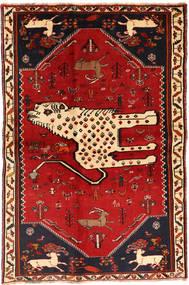 Ghashghai Teppich  134X211 Echter Orientalischer Handgeknüpfter Dunkelrot/Rost/Rot (Wolle, Persien/Iran)
