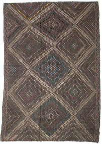 Kelim Halbantik Türkei Teppich  206X300 Echter Orientalischer Handgewebter Dunkelgrau/Dunkelbraun (Wolle, Türkei)