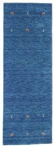 Gabbeh Loom Two Lines - Blau Teppich  80X250 Moderner Läufer Dunkelblau/Blau (Wolle, Indien)