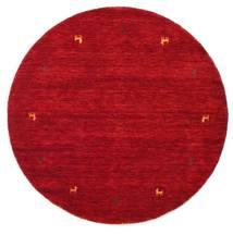 Gabbeh Loom Two Lines - Rot Teppich Ø 150 Moderner Rund Rot/Dunkelrot (Wolle, Indien)
