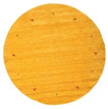 Gabbeh Loom Two Lines - Gelb Teppich  Ø 200 Moderner Rund Gelb/Orange (Wolle, Indien)