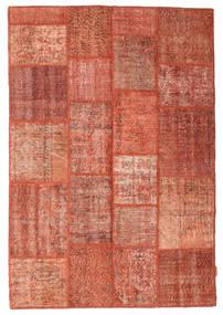 Patchwork Teppich  138X202 Echter Moderner Handgeknüpfter Rot/Dunkelrot (Wolle, Türkei)