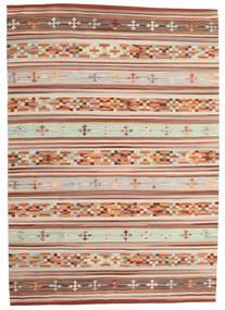 Kelim Anatolian Teppich  160X230 Echter Moderner Handgewebter Dunkelrot/Hellgrau (Wolle, Indien)