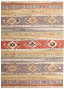 Kelim Nimrud Teppich 240X340 Echter Moderner Handgewebter Hellgrau/Dunkel Beige (Wolle, Indien)