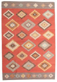Kelim Denizli Teppich  190X290 Echter Moderner Handgewebter Rot/Rost/Rot (Wolle, Indien)