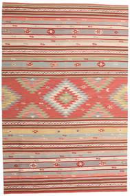 Kelim Mersin Teppich 190X290 Echter Moderner Handgewebter Rost/Rot/Beige (Wolle, Indien)