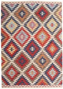 Kelim Usak Teppich  180X275 Echter Moderner Handgewebter Hellgrau/Dunkelrot (Wolle, Indien)