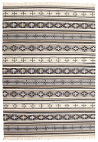 Kelim Cizre Teppich  160X230 Echter Moderner Handgewebter Hellgrau/Beige (Wolle, Indien)