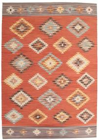 Kelim Denizli Teppich  160X230 Echter Moderner Handgewebter Orange/Rot (Wolle, Indien)