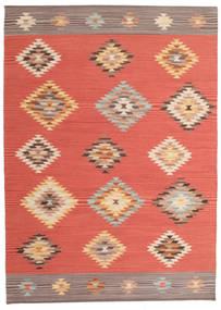 Kelim Denizli Teppich  140X200 Echter Moderner Handgewebter Rot/Dunkelrot (Wolle, Indien)