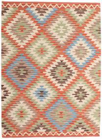 Kelim Usak Teppich  160X230 Echter Moderner Handgewebter Dunkel Beige/Beige (Wolle, Indien)