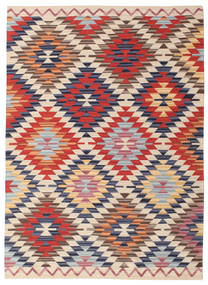 Kelim Usak Teppich  140X200 Echter Moderner Handgewebter Beige/Rost/Rot (Wolle, Indien)