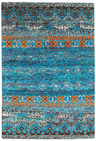 Quito - Türkis Teppich 160X230 Echter Moderner Handgeknüpfter Türkisblau/Dunkelgrau (Seide, Indien)