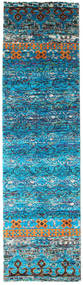 Quito - Türkis Teppich 80X300 Echter Moderner Handgeknüpfter Läufer Türkisblau/Blau (Seide, Indien)
