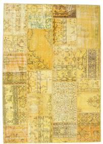 Patchwork Teppich  160X228 Echter Moderner Handgeknüpfter Gelb/Olivgrün (Wolle, Türkei)