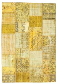 Patchwork Teppich  160X233 Echter Moderner Handgeknüpfter Gelb/Olivgrün (Wolle, Türkei)