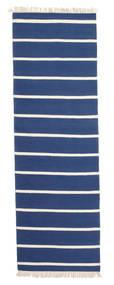 Dorri Stripe - Dunkelblau Teppich  80X300 Echter Moderner Handgewebter Läufer Blau/Beige (Wolle, Indien)