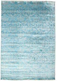 Damask Teppich  204X299 Echter Moderner Handgeknüpfter Hellblau/Türkisblau ( Indien)