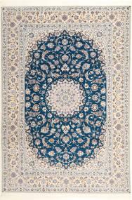 Nain 6La Habibian Teppich 204X304 Echter Orientalischer Handgeknüpfter Hellgrau/Weiß/Creme (Wolle/Seide, Persien/Iran)