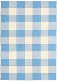 Check Kilim Teppich  120X180 Echter Moderner Handgewebter Hellblau/Beige (Wolle, Indien)