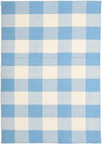 Check Kilim Teppich  160X230 Echter Moderner Handgewebter Hellblau/Beige (Wolle, Indien)