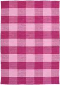 Check Kilim Teppich  140X200 Echter Moderner Handgewebter Rosa/Hellrosa (Wolle, Indien)