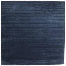 Handloom Fringes - Dunkelblau Teppich  400X400 Moderner Quadratisch Dunkelblau/Blau Großer (Wolle, Indien)