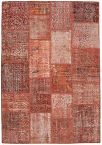 Patchwork Teppich  139X201 Echter Moderner Handgeknüpfter Dunkelrot/Rot (Wolle, Türkei)