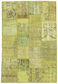 Patchwork Teppich  136X203 Echter Moderner Handgeknüpfter Olivgrün/Gelb (Wolle, Türkei)