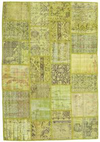 Patchwork Teppich  138X202 Echter Moderner Handgeknüpfter Hell Grün/Olivgrün/Gelb (Wolle, Türkei)