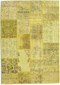 Patchwork Teppich  139X198 Echter Moderner Handgeknüpfter Gelb/Olivgrün (Wolle, Türkei)