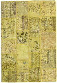 Patchwork Teppich  138X205 Echter Moderner Handgeknüpfter Gelb/Olivgrün (Wolle, Türkei)