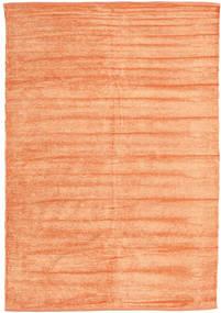 Kelim Chenille - Pfirsichfarben Teppich  140X200 Echter Orientalischer Handgewebter Dunkel Beige/Orange ( Indien)