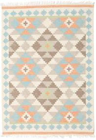 Summer Kelim Teppich  160X230 Echter Moderner Handgewebter Beige/Dunkel Beige (Wolle, Indien)
