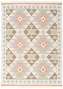 Summer Kelim Teppich  210X290 Echter Moderner Handgewebter Beige/Hellgrau (Wolle, Indien)