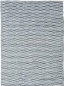 Kelim Honey Comb - Blau Teppich 210X290 Echter Moderner Handgewebter Hellgrau/Hellblau/Beige (Wolle, Indien)