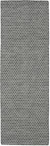 Kelim Honey Comb - Schwarz/Grau Teppich  80X240 Echter Moderner Handgewebter Läufer Hellgrau/Dunkelgrau (Wolle, Indien)